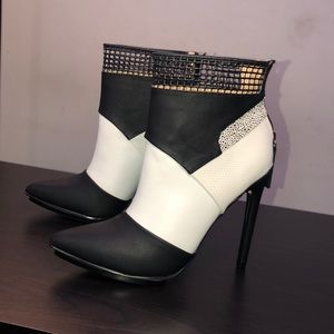 Womens leather bootie 4 inch heel